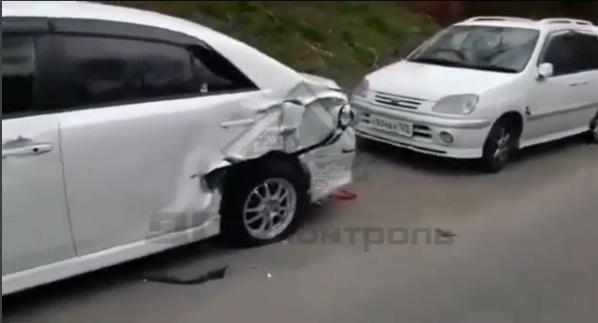 ВоВладивостоке автоледи, спасая кошку, протаранила 11 авто