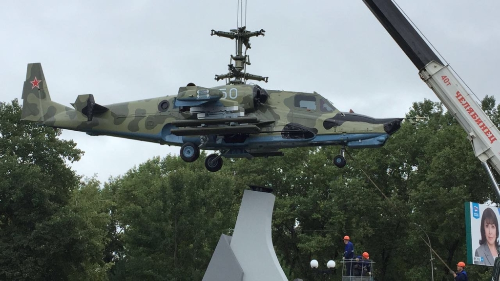 ВАрсеньеве установили монумент известному Ка-50 «Черная акула»