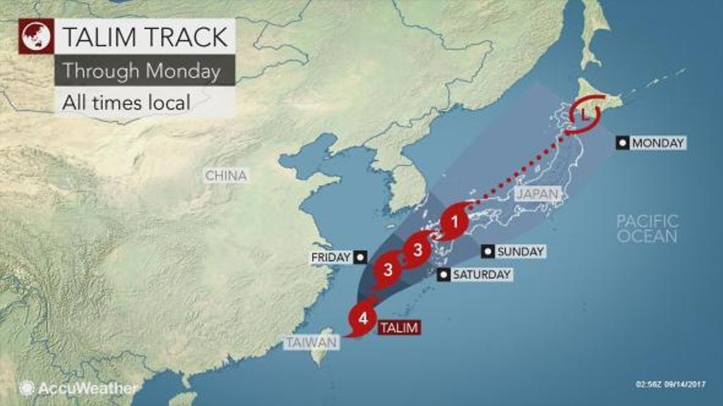 Тайфун «Талим» движется кЯпонии